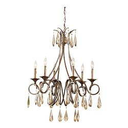 Six Light Gilded Imperial Silver Up Chandelier