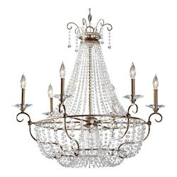 Six Light Burnished Silver Up Chandelier