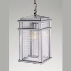 One Light Brushed Aluminum Clear Checked Glass Hanging Lantern