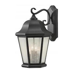 Four Light Black Clear Seeded Glass Wall Lantern