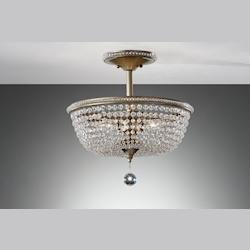 Three Light Burnished Silver Bowl Semi-Flush Mount