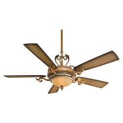 Tuscan Patina 5 Blade 56In. Ceiling Fan - Light, Wall Control And Blades Included