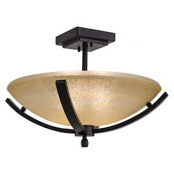Iron Oxide 2 Light Semi-Flush Ceiling Fixture From The Raiden Collection