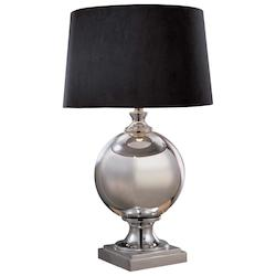 Mercury Silver 1 Light 27.25in. Height Table Lamp with Black Drum Shade - 217067