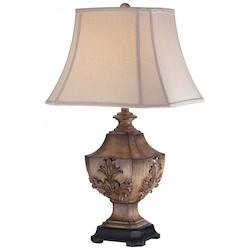 Light Tan Linen 1 Light 30in. Height Table Lamp with Cream Pyramid Shade - 217102