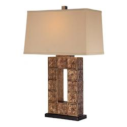 Cream Linen 1 Light 28in. Height Table Lamp with Tan Shade - 217104