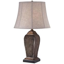 Oatmeal Linen 1 Light 28.5in. Height Table Lamp with Grey Shade - 217118
