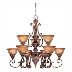 Illuminati Bronze 9 Light 2 Tier Chandelier From The Illuminati Collection
