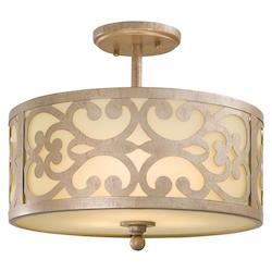 Nanti Champagne Silver 3 Light Semi-Flush Ceiling Fixture From The Nanti Collection