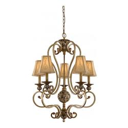 Florence Patina 5 Light 33.5In. Height 1 Tier Chandelier From The Salon Grand Collection