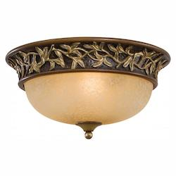 Florence Patina 3 Light Flush Mount Ceiling Fixture From The Salon Grand Collection