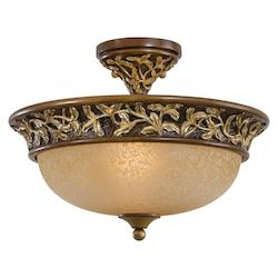 Florence Patina 3 Light 11.25In. Height Semi-Flush Ceiling Fixture From The Salon Grand Collection