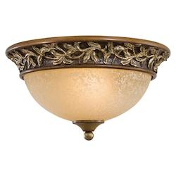 Florence Patina 2 Light Flush Mount Ceiling Fixture From The Salon Grand Collection