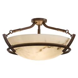 Nutmeg 3 Light 12.5In. Height Semi-Flush Ceiling Fixture From The Calavera Collection