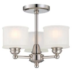 Polished Nickel 3 Light Semi-Flush Ceiling Fixture From The 1730 Collection