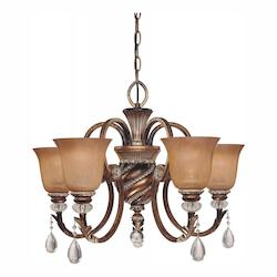 Aston Court Bronze 5 Light 20In. Height 1 Tier Crystal Chandelier From The Aston Court Collection