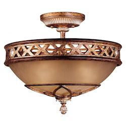 Aston Court Bronze 3 Light 13.25In. Height Semi-Flush Ceiling Fixture From The Aston Court Collection