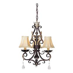 Castlewood Walnut 3 Light 1 Tier Candle Style Crystal Chandelier From The Bellasera Collection