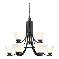 Black 9 Light 2 Tier Chandelier From The Agilis Collection