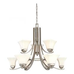 Brushed Nickel 9 Light 2 Tier Chandelier From The Agilis Collection