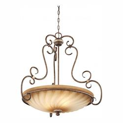 Distressed Marsoni Bronze 3 Light Indoor Bowl Shaped Pendant From The Marsoni Collection