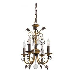 Belcaro Walnut 4 Light 1 Tier Mini Crystal Chandelier From The Mini Chandeliers Collection