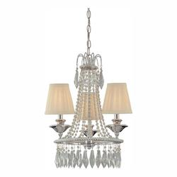 Chrome/Glass 3 Light 19.25In. Height 1 Tier Mini Crystal Chandelier