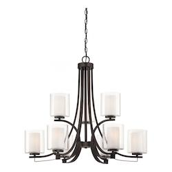 Smoked Iron 9 Light 2 Tier Chandelier from the Parsons Studio Collection - 217478
