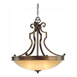Deep Flax Bronze 3 Light Indoor Bowl Shaped Pendant From The Atterbury Collection