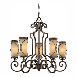 Deep Flax Bronze 5 Light 1 Tier Chandelier From The Atterbury Collection