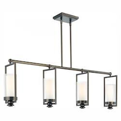 Harvard Ct. Bronze 4 Light 1 Tier Linear Chandelier From The Harvard Ct. Collection