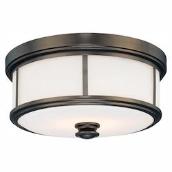 Harvard Ct. Bronze 2 Light Flush Mount Ceiling Fixture From The Harvard Court Collection