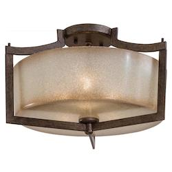 Patina Iron 3 Light Semi-Flush Ceiling Fixture From The Clarte Collection
