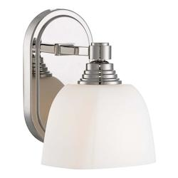 Polished Nickel 1 Light 8.5In. Height Bathroom Sconce With Etched Opal Shade