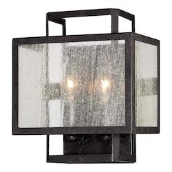 Aged Charcoal 2 Light Flush Mount Wall Sconce from the Camden Square Collection - 217667
