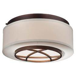 Dark Brushed Bronze 2 Light Flush Mount Ceiling Fixture From The City Club Collection