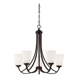 Vintage Bronze 5 Light 1 Tier Chandelier from the Overland Park Collection - 217706