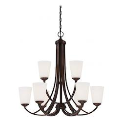 Vintage Bronze 9 Light 2 Tier Chandelier from the Overland Park Collection - 217708