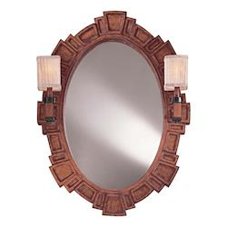Distressed Cherry Oval Mirror with Two Lights, Finished in Distressed Cherry - 217727