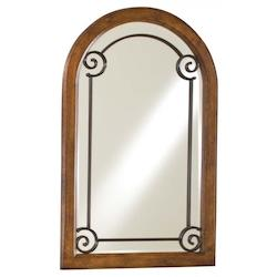 Arched Wall Mirror with Brown Finish  - 217803
