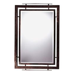 Iron Oxide Wrought Iron Rectangular Mirror from the Linear Collection - 217819