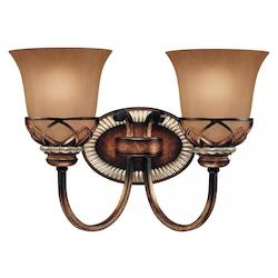 Aston Court Bronze 2 Light 14.5In. Width Bathroom Vanity Light With Avorio Mezzo Shade