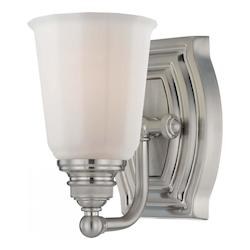 Brushed Nickel 1 Light Bathroom Sconce From The Clairemont Collection