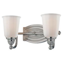 Brushed Nickel 2 Light Bathroom Vanity Light From The Clairemont Collection
