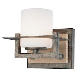 Aged Patina Iron With Travertine Stone 1 Light 5.25 Width Bathroom Sconce From The Compositions Collection