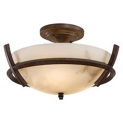 Nutmeg 3 Light 14In. Width Semi-Flush Ceiling Fixture From The Calavera Collection