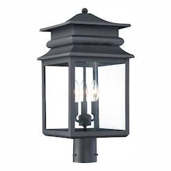 Open Box 3 Light Outdoor Post With Black Finish