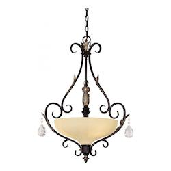 Castlewood Walnut With Silver Leaf Highlights 3 Light Indoor Bowl Shaped Pendant From The Bellasera Collection