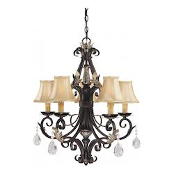 Castlewood Walnut With Silver Leaf Highlights 5 Light 1 Tier Candle Style Crystal Chandelier From The Bellasera Collection