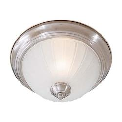 Brushed Nickel 1 Light 11In. Width Fluorescent Flush Mount Ceiling Fixture With Frosted Melon Shade